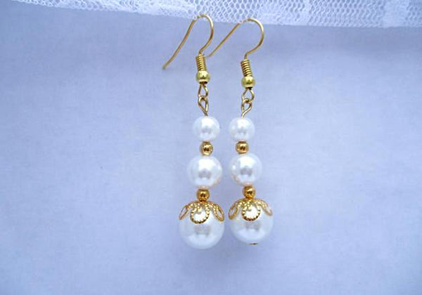 Gold & White Pearl Earrings