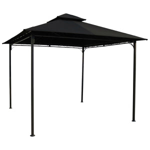 10 Ft X Outdoor Gazebo With Black Weather Resistant Fabric Canopy