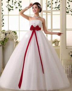 New stock plus size women pregnant bridal gown wedding dress ball gown  white red satin big bow sexy strapless long 231