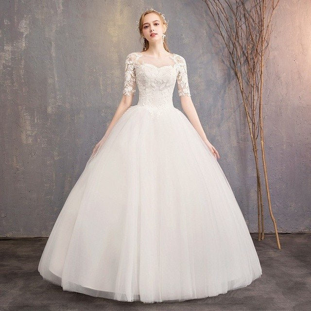 a8df5c7d ... Beauty Lace White Wedding Dresses 2019 Long Ball Gown Half Sleeve Beautiful  Wedding Party Women Bridal