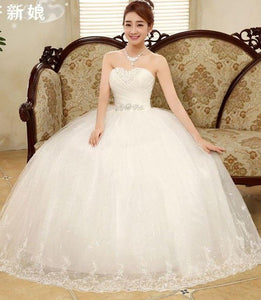 New Stock Plus Size Women Pregnant Bridal Gown Wedding Dress Ball Gown Korea Cheap Sexy Romantic Simple White Long 31211