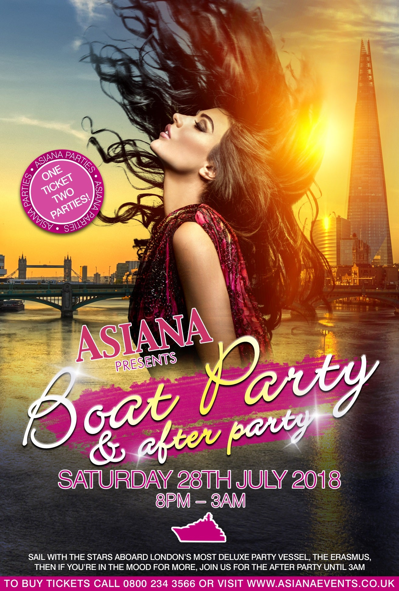 Christmas Boat Party London.Asiana Boat Party After Party One Ticket Two Parties