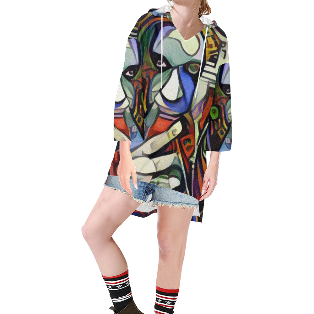I'm Just A Dreamer RockArt™ Tunic Hoodie for Women (Model H25)