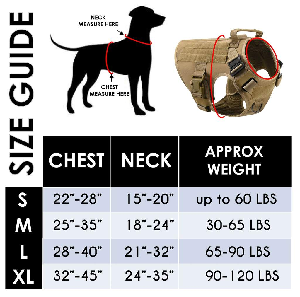 tactical dog harness sizing