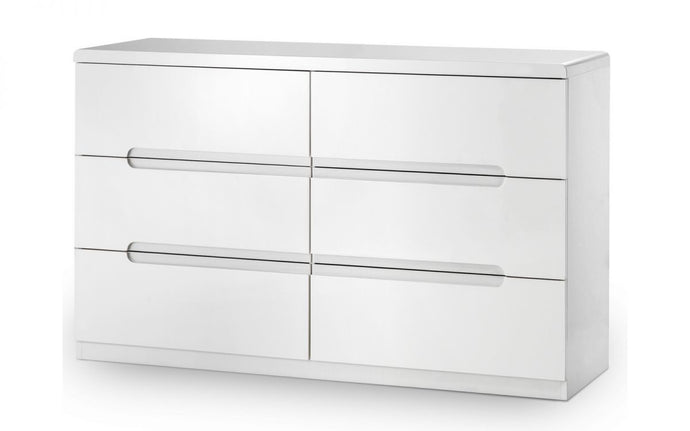 Manhattan White High Gloss 6-Drawer Chest
