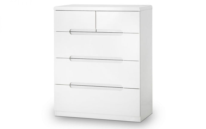 Manhattan White High Gloss 3+2-Drawer Chest