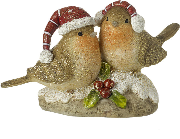 Glitter Robins in Winter Hats