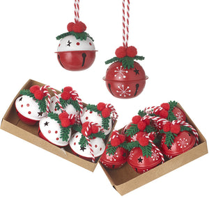 Red and White Holly Bell Hangers