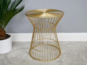 Gold Wireframe Side Table