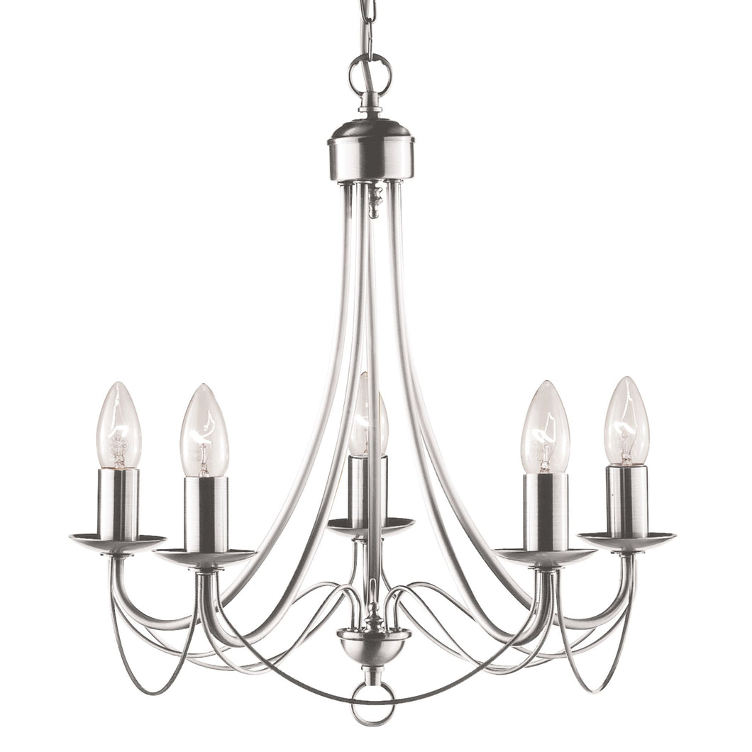 Maypole Satin Silver 5-Light Fitting