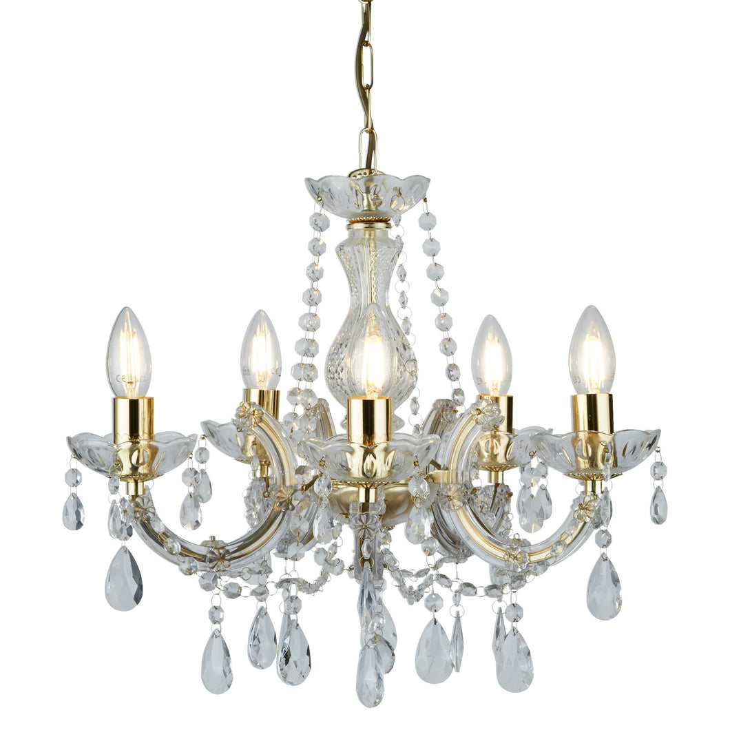 Marie Therese Polished Brass 5-Light Chandelier