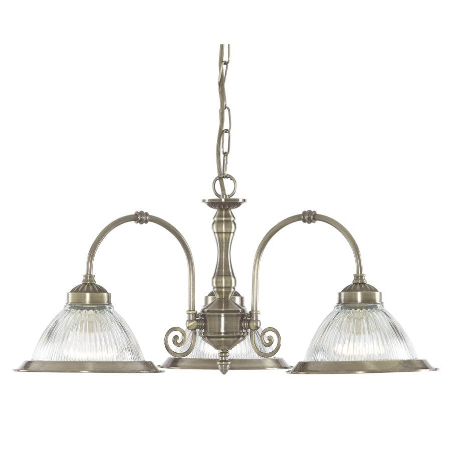 American Diner Antique Brass 3-Light Fitting