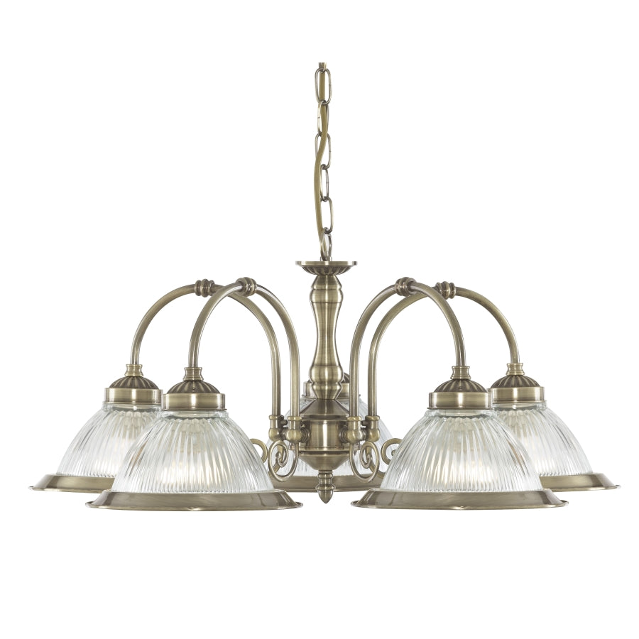 American Diner Antique Brass 5-Light Fitting