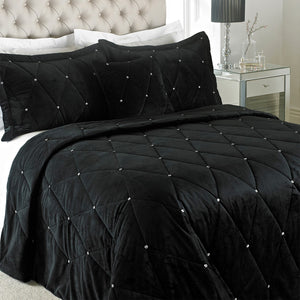 New Diamante Bedding Set Black