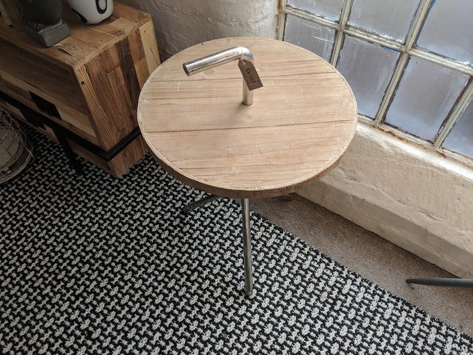 Industrial Wooden Side Table with Handle