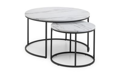 Bellini Round Nesting Coffee Tables - White Marble