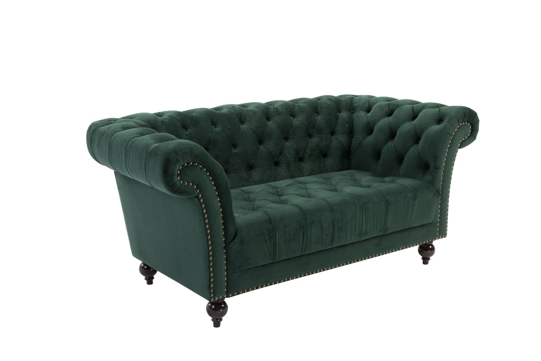 Green 2-Seater Chesterfield Sofa