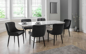 Como Dining Set with 4/6 Luxe Grey Chairs