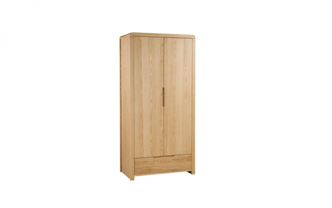 Curve Solid Oak 2-Door Wardrobe