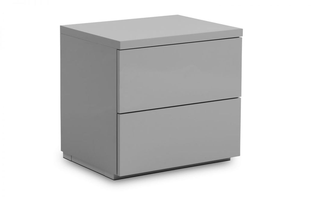 Sebastien Grey High Gloss 2-Drawer Bedside