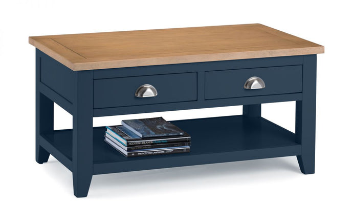 Mayfair Solid Oak Coffee Table - Blue