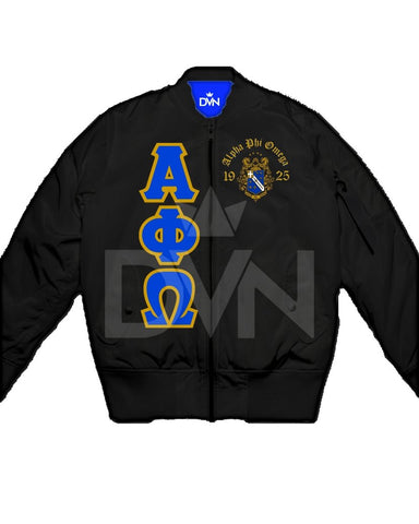 Alpha Phi Omega Satin Bomber Jacket - DVN Co.