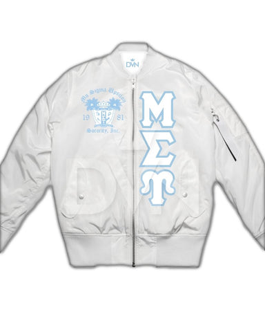 Mu Sigma Upsilon Satin Bomber Jacket (Custom) - DVN Co.
