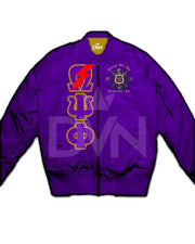 Omega Psi Phi Satin Bomber Jacket - DVN Co.