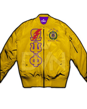 Omega Psi Phi Satin Bomber Jacket (Custom) - DVN Co.