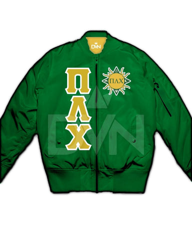 Pi Lambda Chi Satin Bomber Jacket (Custom) - DVN Co.