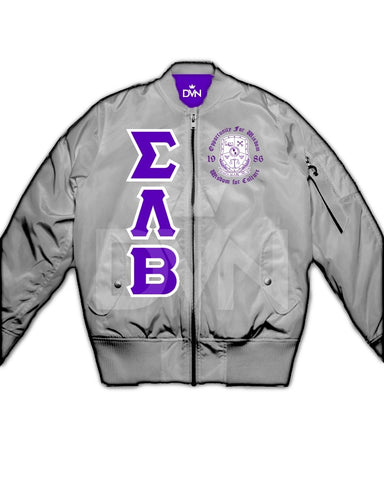 Sigma Lambda Beta Satin Bomber Jacket (Custom) - DVN Co.