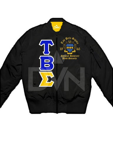 Tau Beta Sigma Satin Bomber Jacket (Custom) - DVN Co.