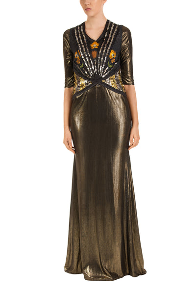 Amber Gold Three-Quarter Sleeve Maxi Dress