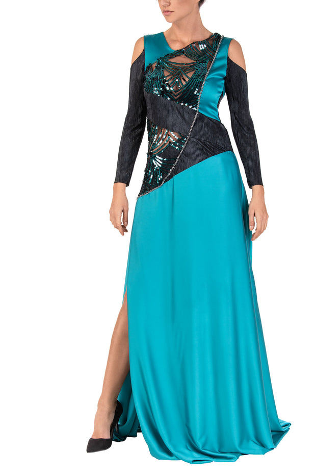 Aqua Poise Long Sleeve Maxi Dress
