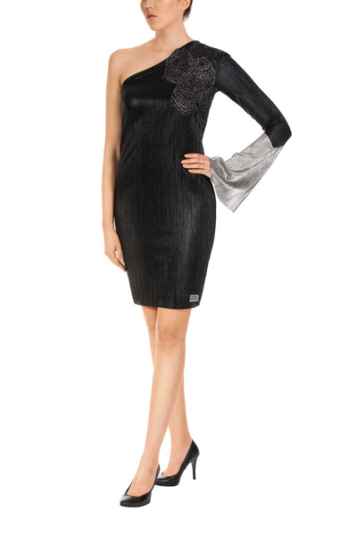 Black Chic One-Shoulder Bodycon Dress