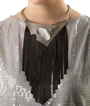 Black Fringe Detail Necklace