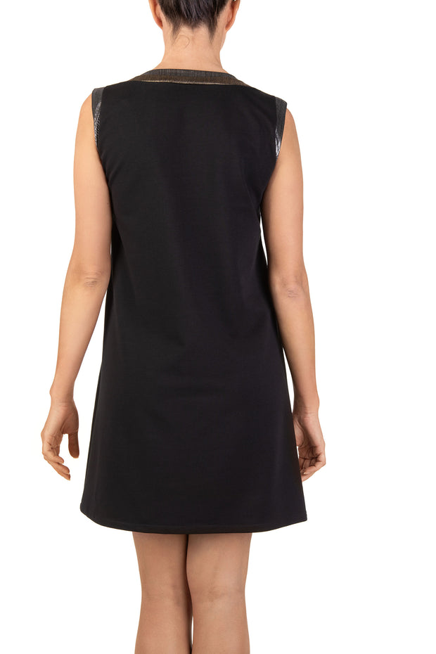 Black Pansy Sleeveless Shift Mini Dress