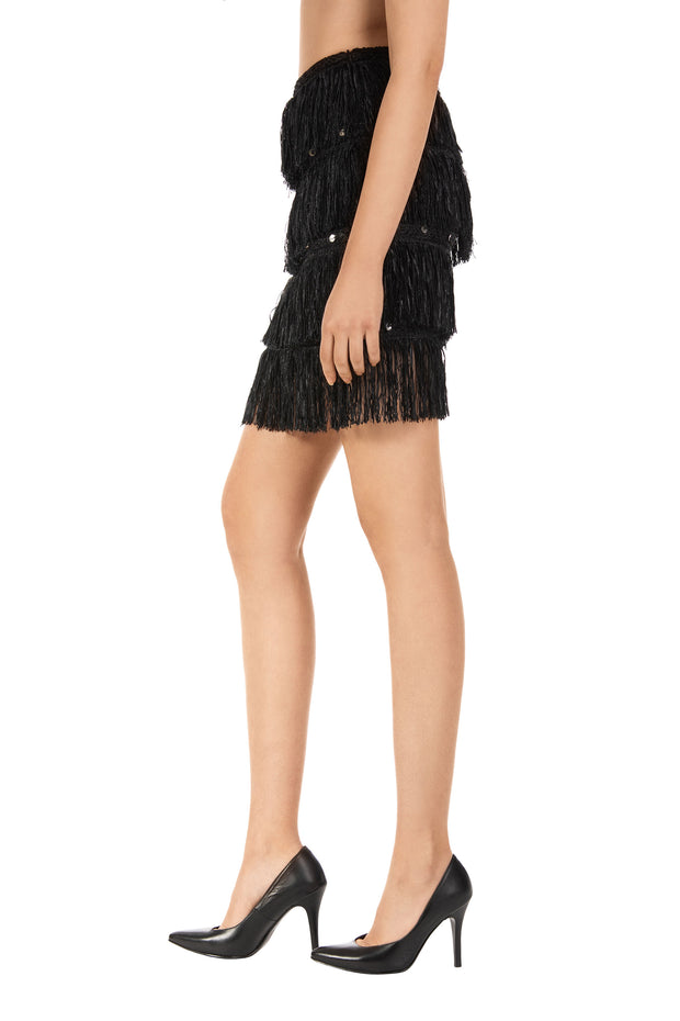 Black Viola Fringe Mini Skirt