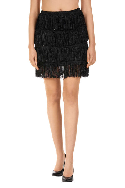 Black Viola Fringe Tiered Mini Skirt