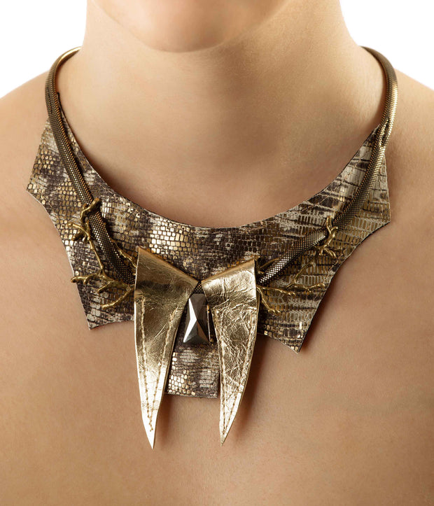 Bronze Gold Snake Print Leather Necklace