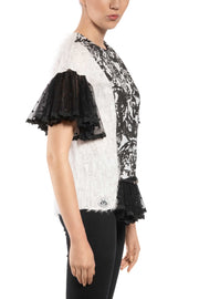 Chantel - Black White Ruffled Short Sleeve Top