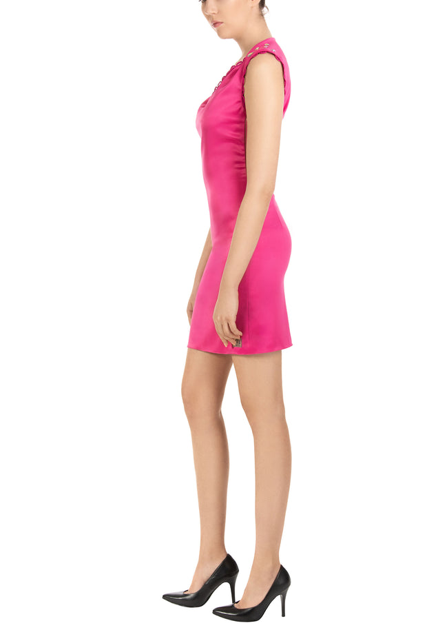 Cyclamen Sweetheart Neck Sleeveless Mini Dress