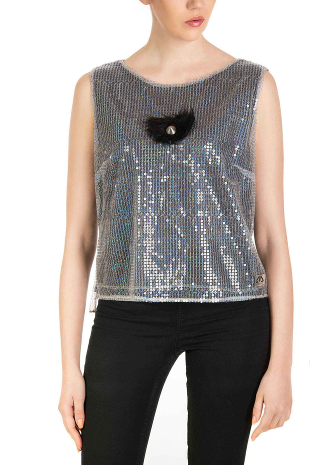 Disco Queen - Sleeveless Silver Sequin Top