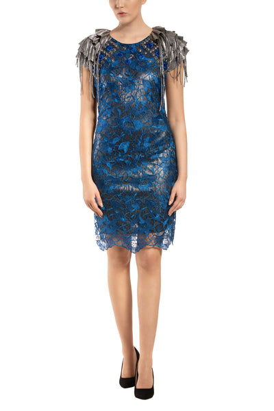 Disco Royal - Blue Floral Lace Open Back Sheath Dress