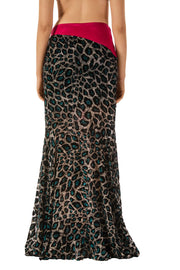 Animal Print Mermaid Maxi Skirt
