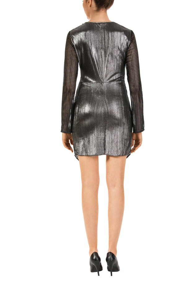 Long Sleeve Metallic Mini Dress