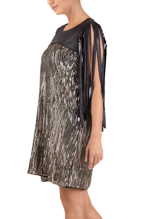 Glimmer Silver Gold Sequin Mini Dress