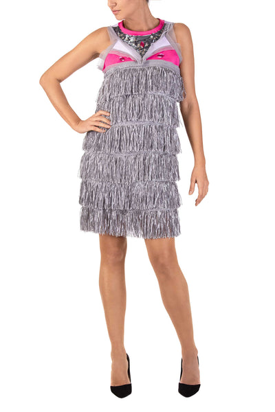 Glory Silver Fringe Sleeveless Mini Dress