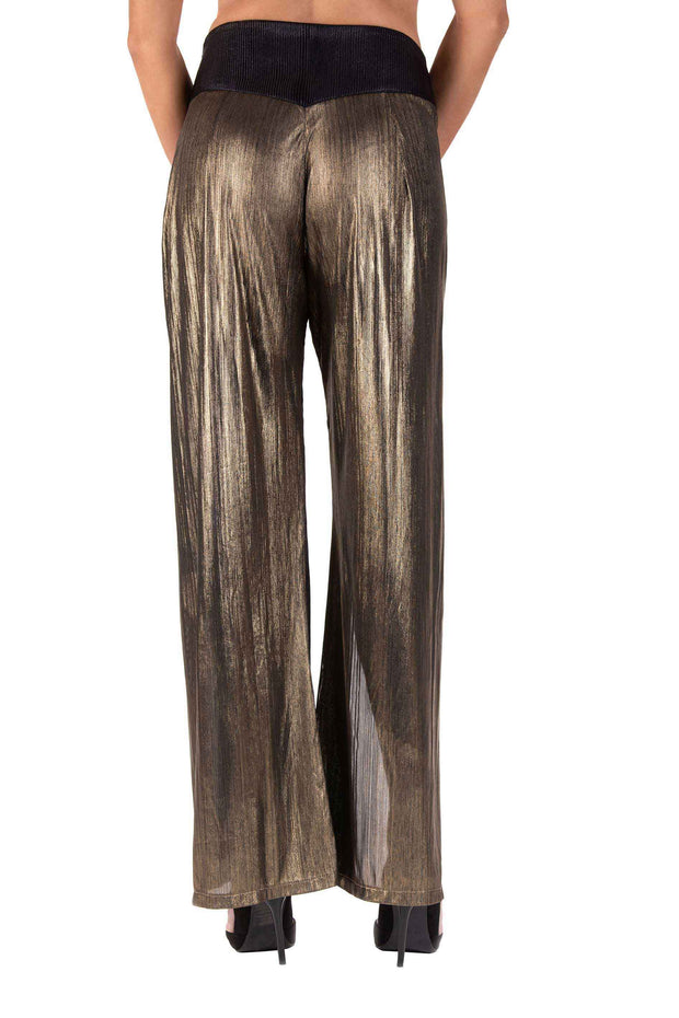 Golden Butterfly Wide-Leg Pants