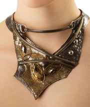 Gold Ellipse Leather Necklace
